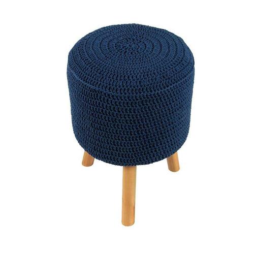 banco round crochê pé madeira azul royal e natural