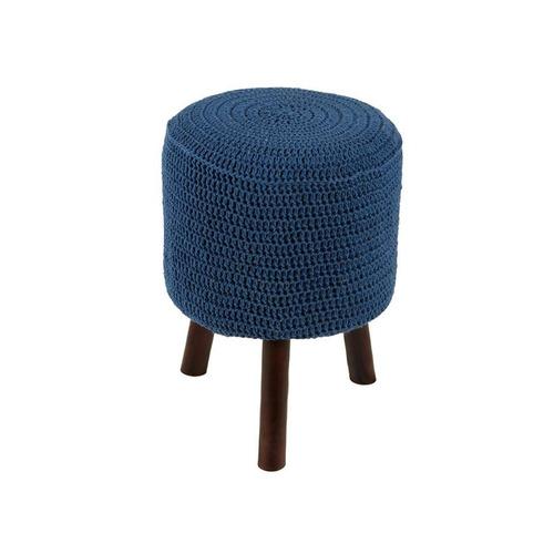 banco round crochê pé madeira azul royal e tabaco