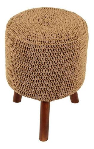 banco round crochê pé madeira bege e mel