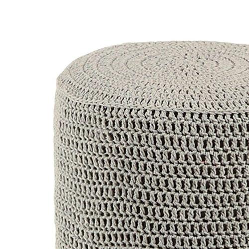 banco round crochê pé madeira cinza e mel