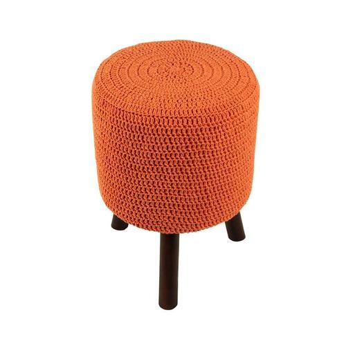 banco round crochê pé madeira laranja e tabaco