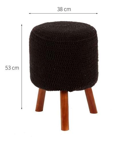 banco round crochê pé madeira preto mel
