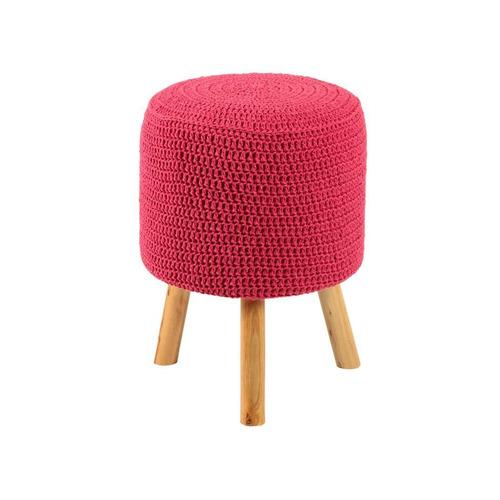 banco round crochê pé madeira rosa e natural