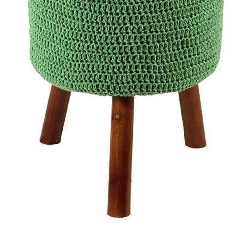 banco round crochê pé madeira verde e mel