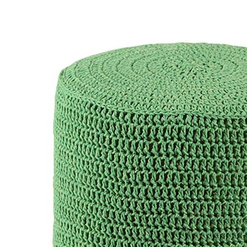 banco round crochê pé madeira verde e natural