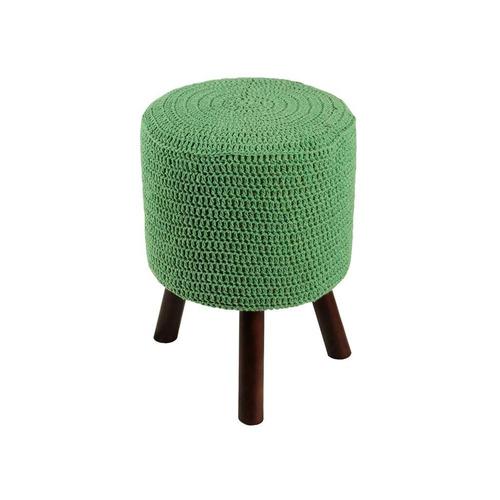 banco round crochê pé madeira verde e tabaco