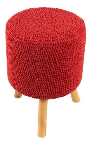 banco round crochê pé madeira vermelho e natural