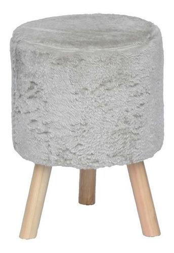 banco round pelúcia pé madeira areia e natural