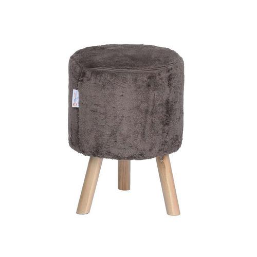 banco round pelúcia pé madeira castanho e natural