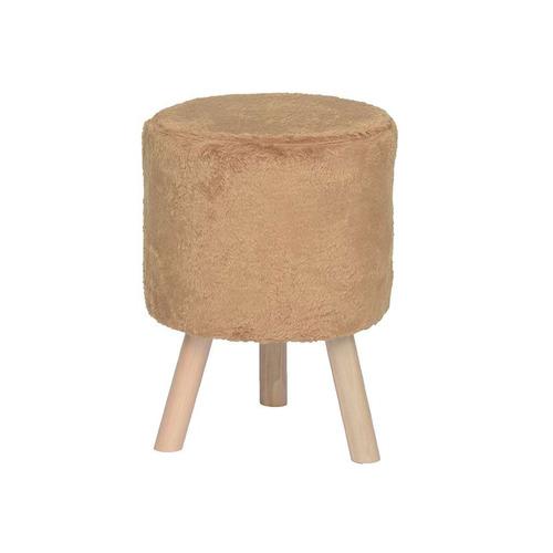 banco round pelúcia pé madeira ouro e natural