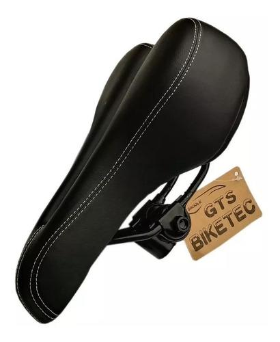 banco selim vazado gts biketec mtb preto c/carrinho confort