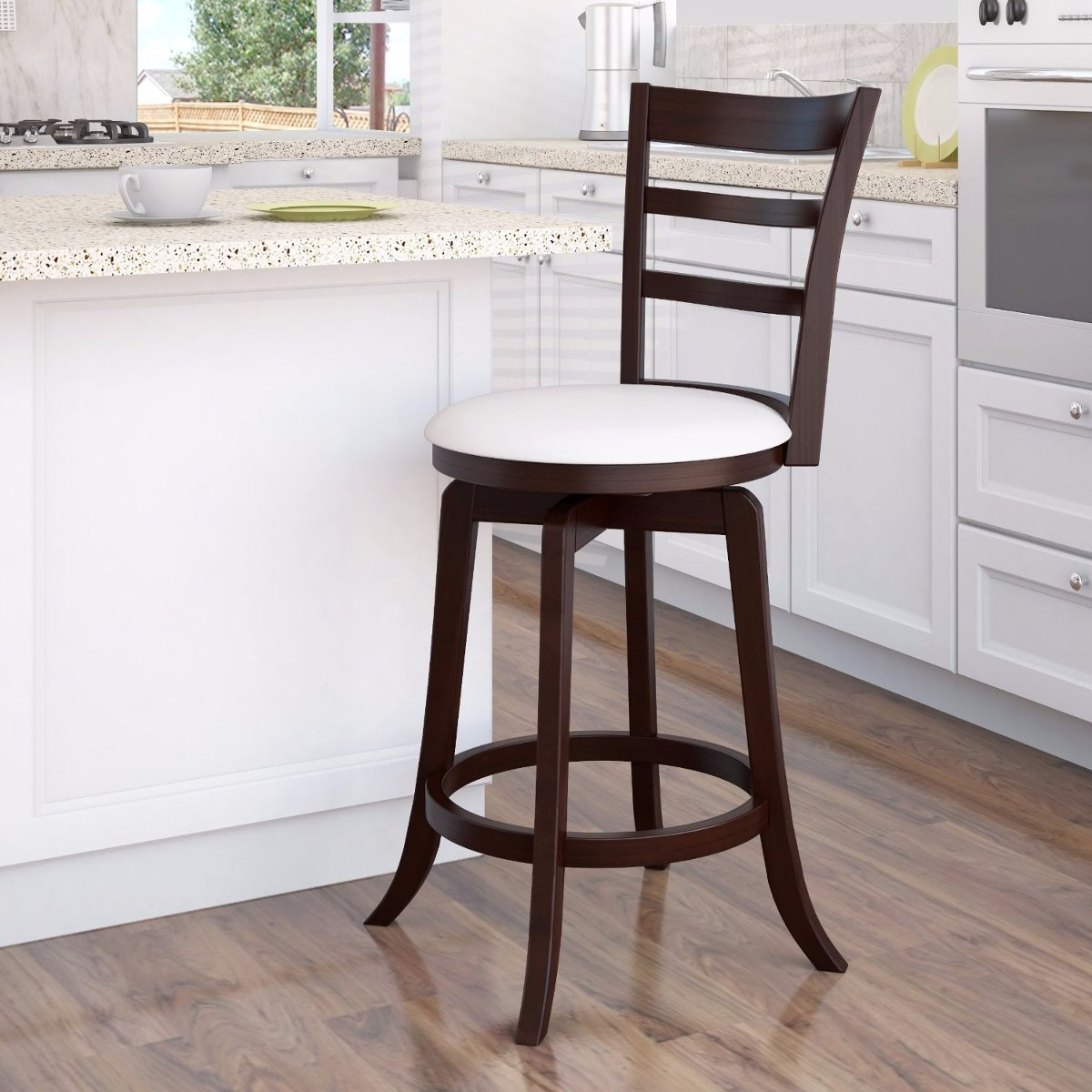 Banco silla giratoria bar cafe barra madera y cuero 91 cm for Precio de sillas para barra