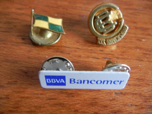 bancomer antiguos artic. promocionales, pins, maleta, lampar