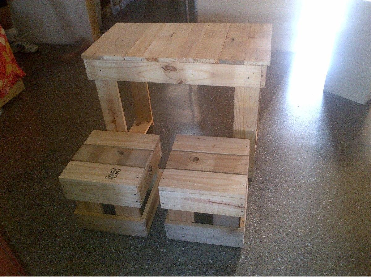 Bancos banquitos mesas sillas de madera de pino palets - Mesas de palets de madera ...