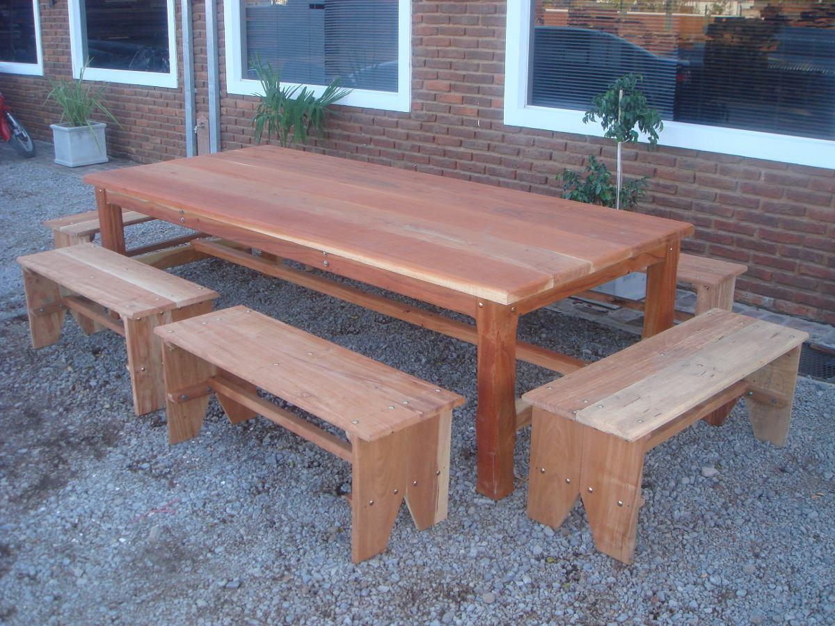 Bancos de madera rusticos banco rustico sin respaldo para jardn madera tratada de exterior - Banco de madera rustico ...