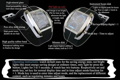 banda de goma led reloj de coche/mesa con luz azul visualiza