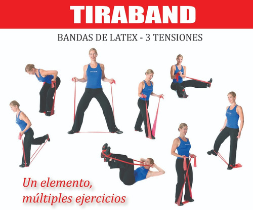 banda de latex tension suave rectangular tiraband 120x15 cm
