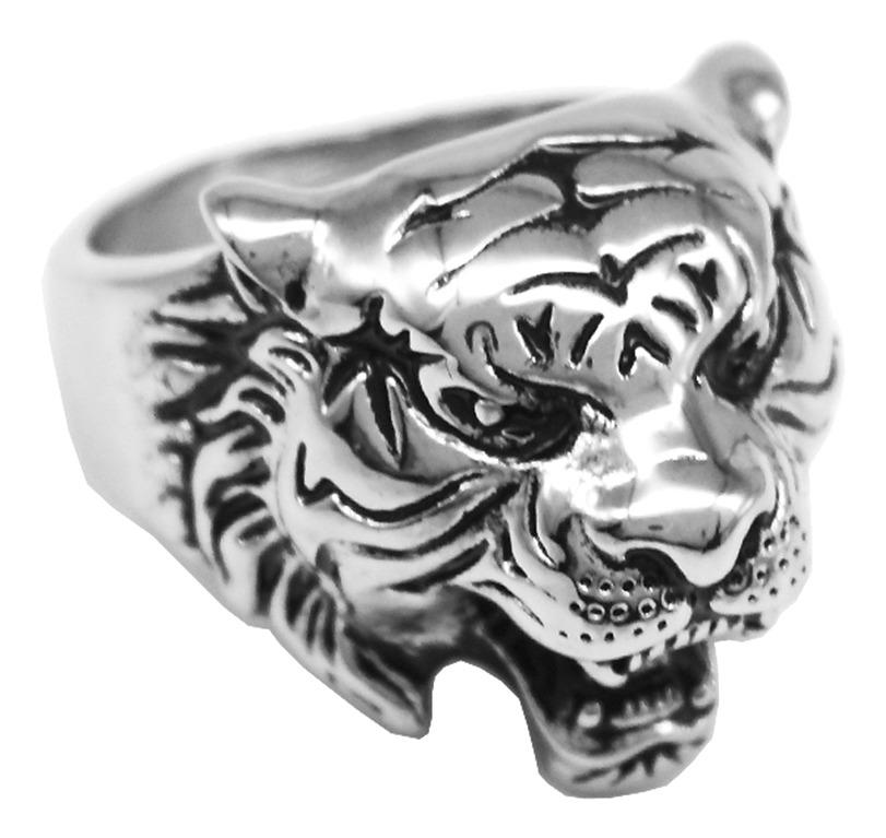 Nuevo Anillo de Cabeza de tigre de acero inoxidable en color plata para hombre vendedor del Reino Unido