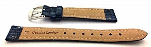 banda de reloj de cuero genuino azul de 14 mm | tail lizard