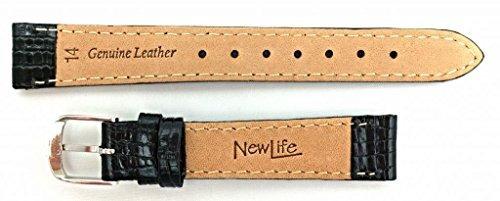 banda de reloj de cuero genuino de 14 mm en color negro   ta
