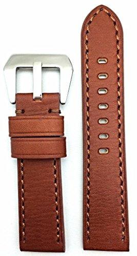 banda de reloj de cuero genuino estilo panerai marrón 22mm