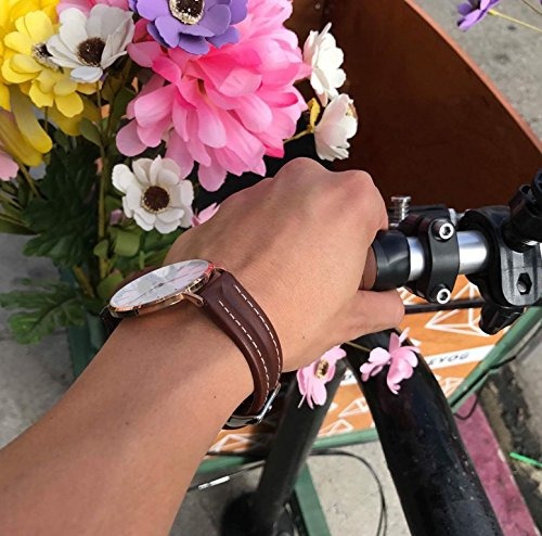 banda de reloj de cuero genuino marron de 18 mm de newlife  