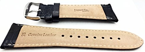 banda de reloj de cuero genuino negro de 28 mm | pulsera de