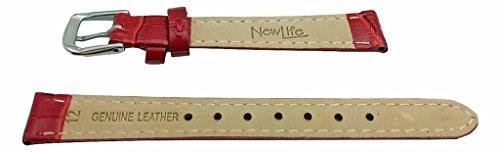 banda de reloj de cuero genuino rojo de 12 mm   correa de mu
