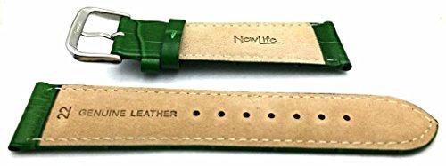 banda de reloj de cuero genuino verde 22mm | correa de muñe