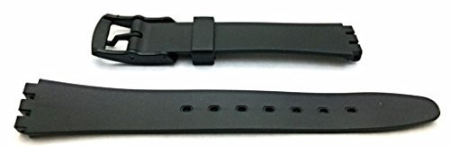 banda de reloj de goma negra de 14 mm material de pvc cómod