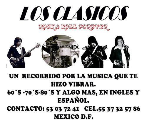 banda grupo de rock ingles español 60´s 70´s 80 para fiestas