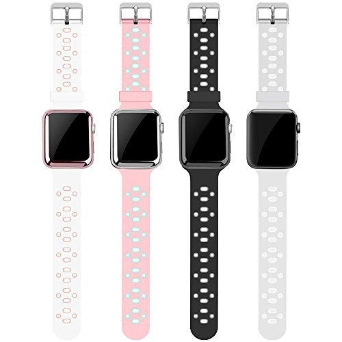 banda para apple watch 42mm, alritz 4 pack de soft silicona