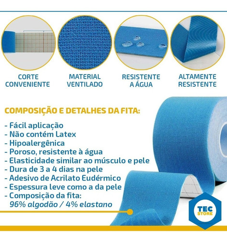 bandagem funcional elástica fita kinesio tape adesiva dores