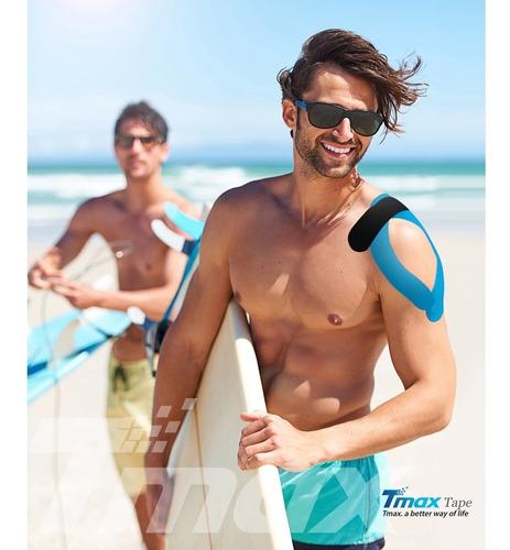 bandagem kinesio elástica funcional adesiva tmax cor preta