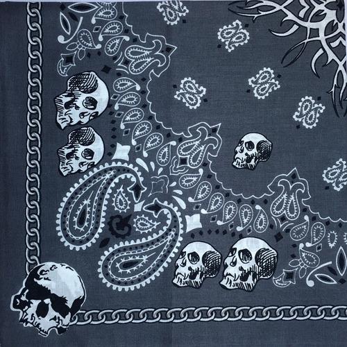 bandana pañuelo diseño calavera gris mascara