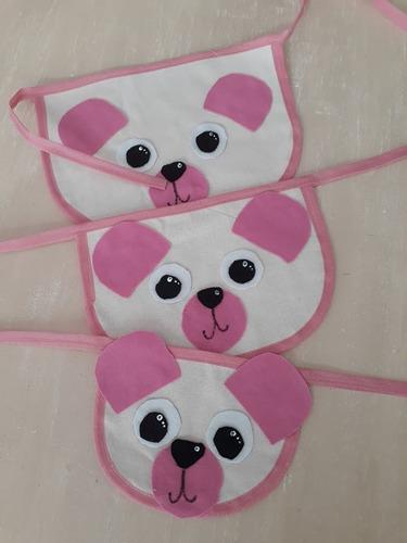 bandana pet - ursinho bege/rosa g