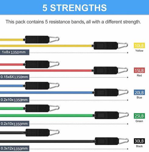 bandas elásticas para ejercicio 11 pza