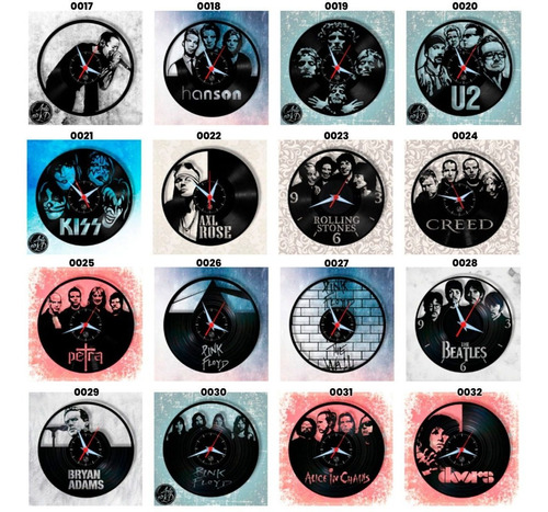 bandas rock relógio disco vinil arte lp musica muitos modelo
