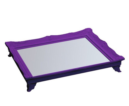 bandeia plástico espelhada com pes decorativa 10 cores