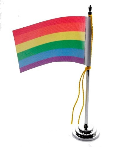 bandeira de mesa 15 cm arco-íris - orgulho gay - gls - glbt