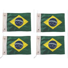Bandeira Moto Brasil Kit 4 Peças , Bordadas Dupla Face