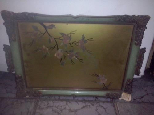bandeja antigua estilo frances con vidrio a restaurar