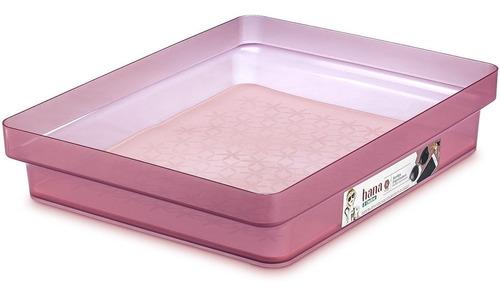 bandeja caixa organizadora baixa multiuso g rosa hana ordene organizador armário closet gaveta fundo tapete emborrachado