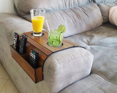 bandeja caixote mdf esteira braço sofá porta copo controle