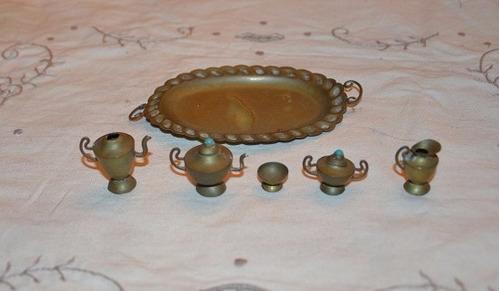 bandeja ce bronce en miniatura con 5 pieza 2 cm c /u