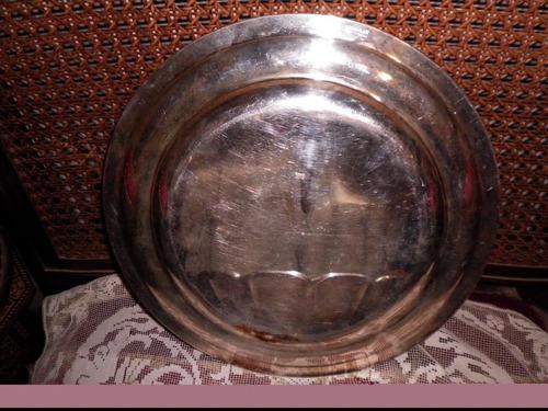 bandeja circular de metal plateado antigua