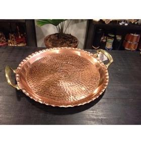 Bandeja De Cobre Com Alças Bronze 33 Cm Diâmetro Metal Arte