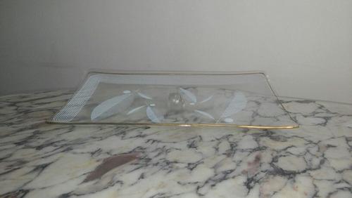 bandeja de cristal antigua detalles dorados