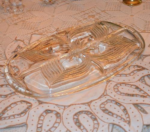 bandeja de cristal para cremas y salsas.