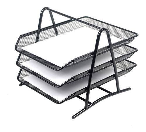 bandeja de escritorio en malla metálica. 3 niveles.